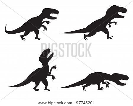 Black Silhouette Of T-rex And Velociraptor In Movement, Angry,run, Roar And Hunting