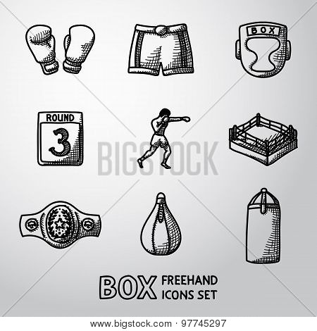 Set of boxing hand drawn icons - gloves, shorts, helmet, round card, boxer, ring, belt, punch bags.
