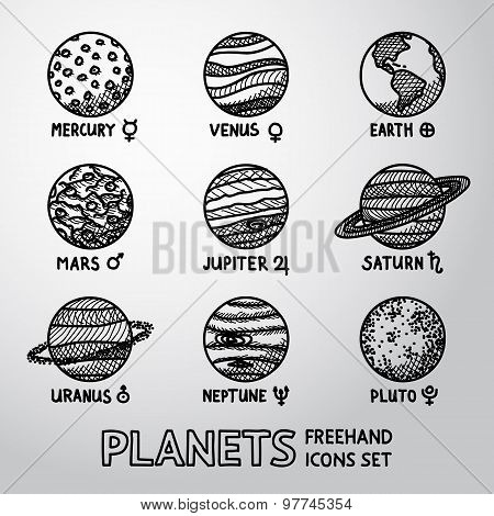 Set of hand drawn planet icons with names and astronomical symbols - mercury, venus, earth, mars, ju