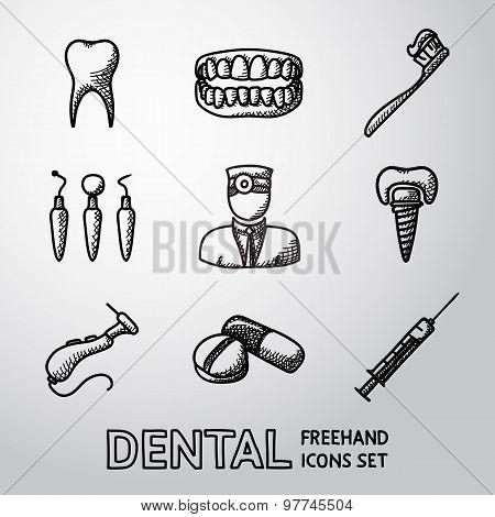 Dental handdrawn icons set. vector