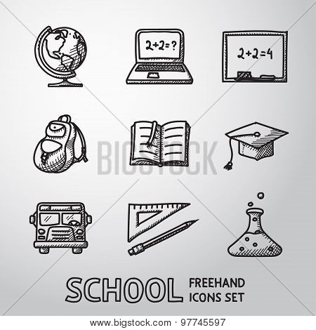 School, education freehand icons set. Vector