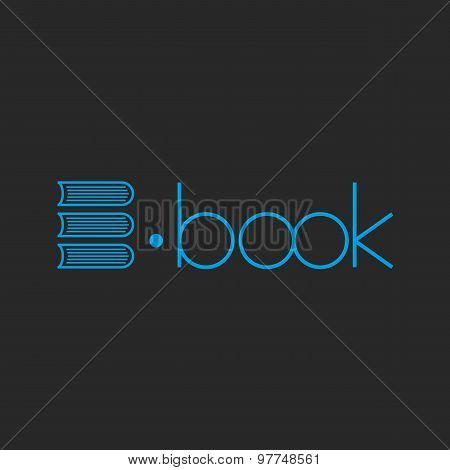 E-book Logo, Abstract Letter E Of Books, Mockup Shop Sign