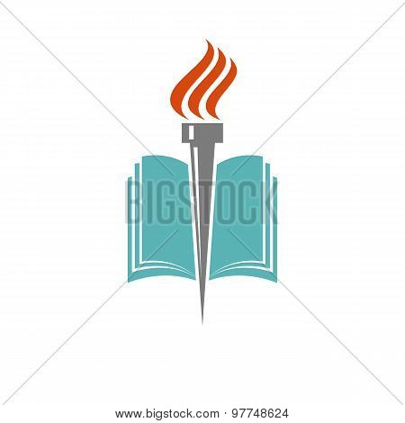 Book And Torch, Education Or Library Logo, University Icon