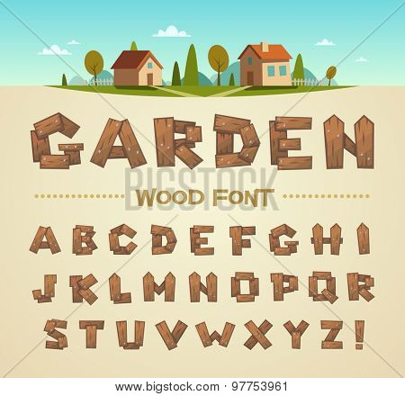 Wood font. Vector alphabet.
