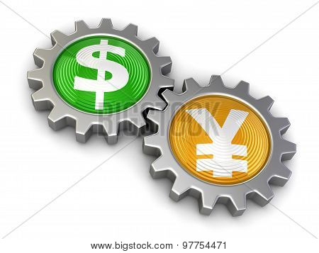 Gears with Dollar and Yen (clipping path included)