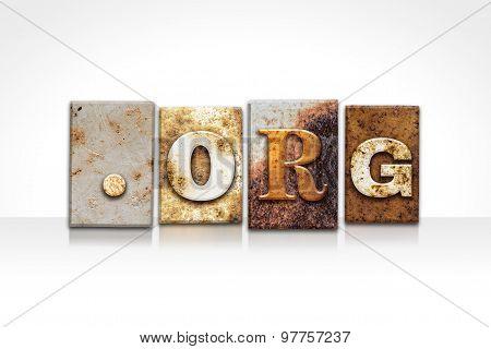 Dot Org Letterpress Concept Isolated On White