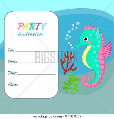 Children birthday party invitation card template Colorful seahorse on sea bottom background Funny sea animal, underwater world for sea party invite, nautical theme party, kids party invitation poster