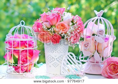 Wedding Decoration With Rose Bouquet