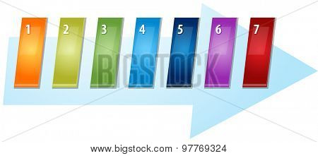 blank business strategy concept infographic diagram slanted numbered sequence arrow illustration Seven 7
