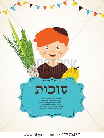 boy holding the Four  species. sukkot in Hebrew poster