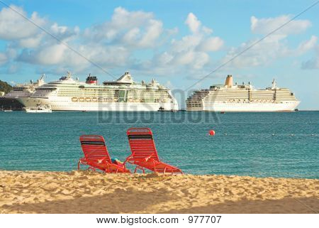 Ships And Beach