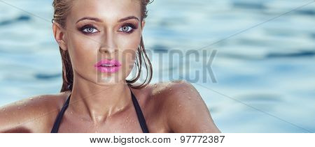 Portrait Of Blonde Woman With Perfect Summer Makeup.