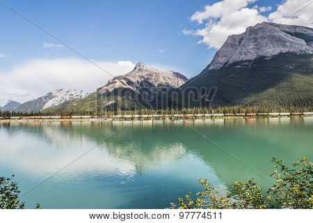Lakes riversmountains that forms the landscape of Canmore in the Rocky Mountains of Alberta Canada