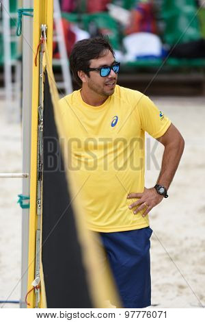 MOSCOW, RUSSIA - JULY 17, 2015: Team captain Gui Prata of Brazil during the ITF Beach Tennis World Team Championship. 28 nations compete in the event this year