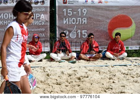 MOSCOW, RUSSIA - JULY 15, 2015: Team Japan during the match of the ITF Beach Tennis World Team Championship against Belarus. Japan won 2-1
