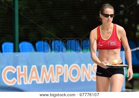 MOSCOW, RUSSIA - JULY 15, 2015: Rosa Sitja of Spain during the ITF Beach Tennis World Team Championship. 28 nations compete in the event this year