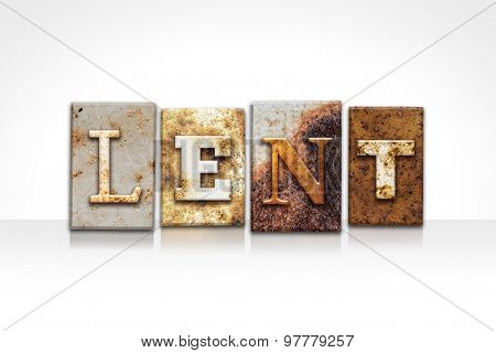 Lent Letterpress Concept Isolated On White