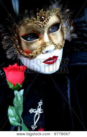 Masked lady with a rose