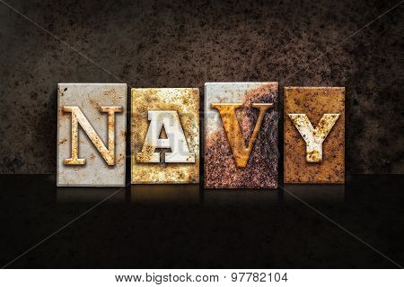 Navy Letterpress Concept On Dark Background