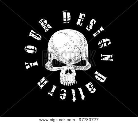 Design for t-shirt print with skull and textures