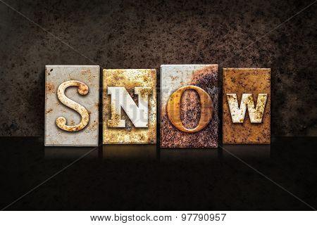 Snow Letterpress Concept On Dark Background