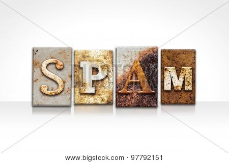 Spam Letterpress Concept Isolated On White