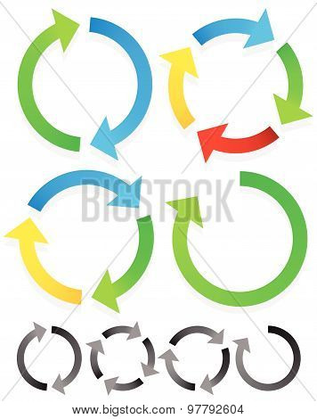 Circular arrows for recycle repetition rotation or cycle synchronization forward backward concepts. Arrows in circle vector graphics. poster