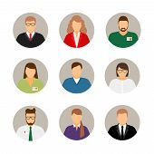 Businesspeople avatars. Males and females business profile pictures poster