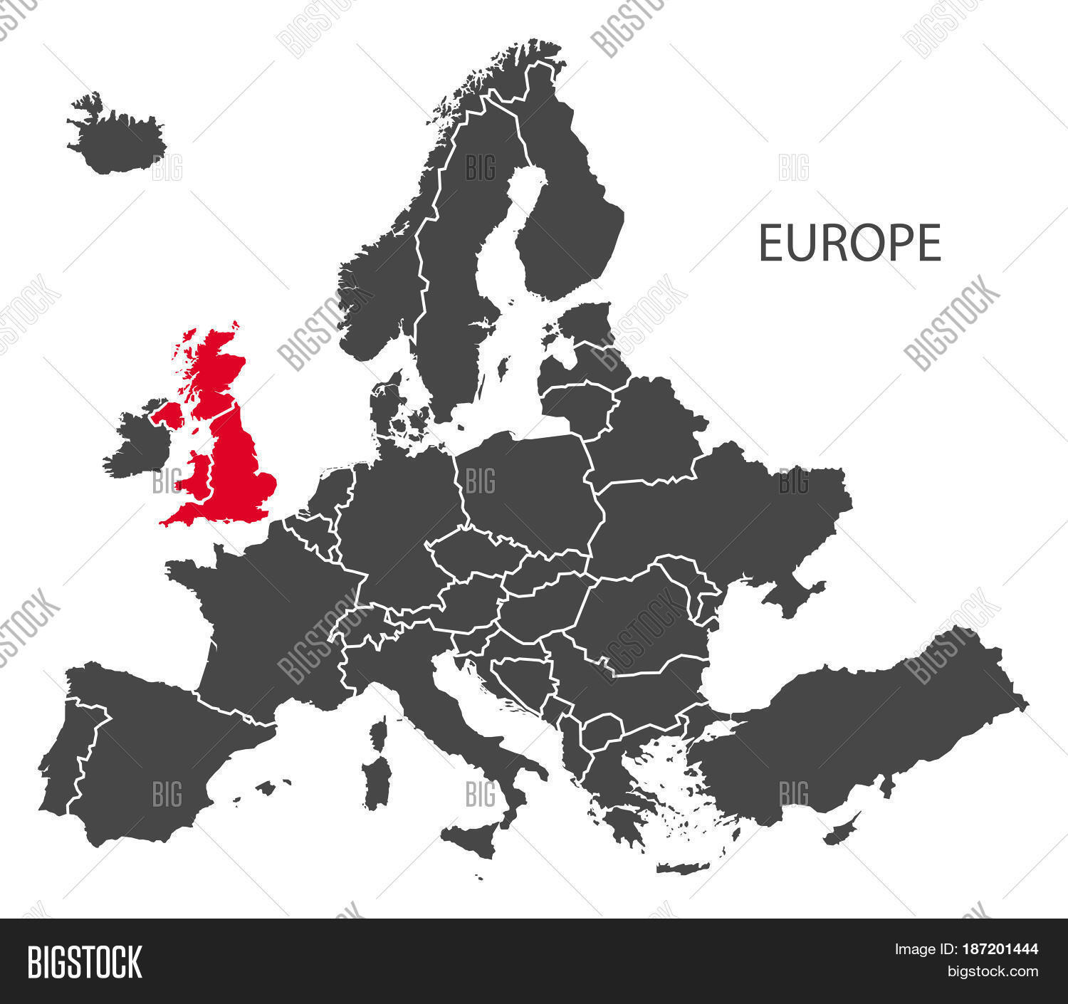 Imagen y foto europe countries map dark grey bigstock europe with countries map dark grey including highlighted britain in red brexit gumiabroncs Images