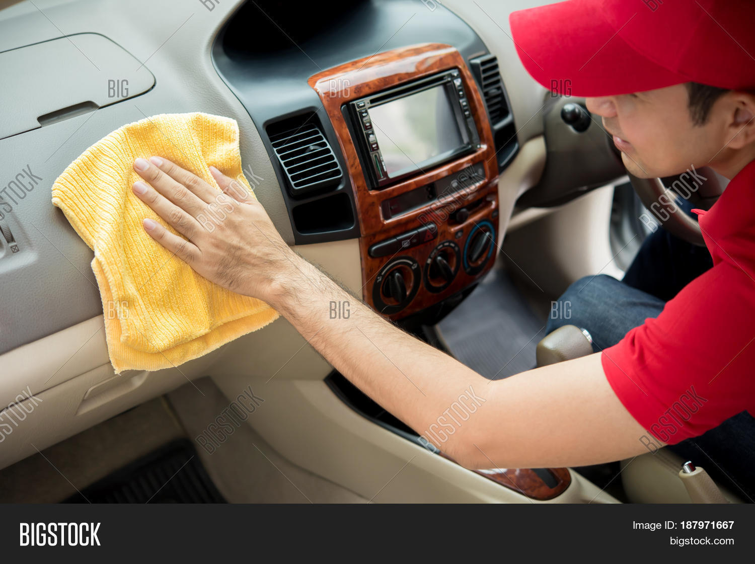 man cleaning car image & photo (free trial) | bigstock