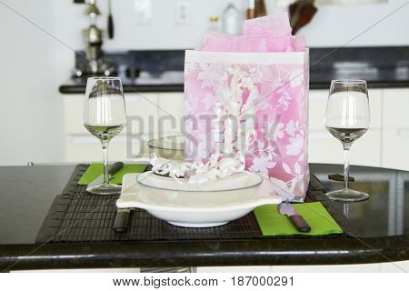 Gift on dining room table