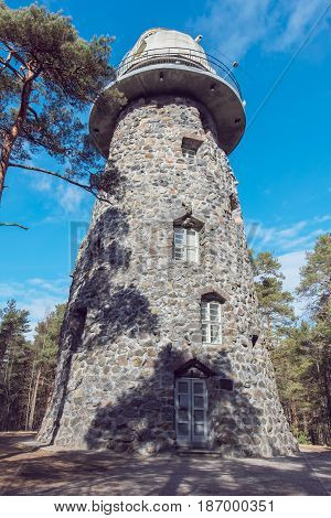 View old Observatory tower in park. Tallinn Estonia Europe
