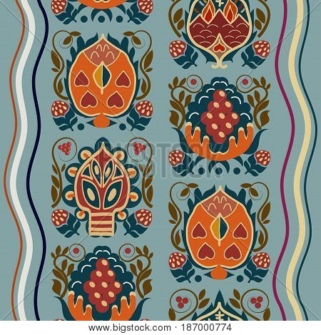 Vintage seamless ethnic texture with tropical flowers. Basis for paper fabrics and desktop Vector illustration.