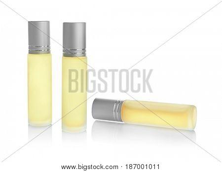 Perfume bottles on white background
