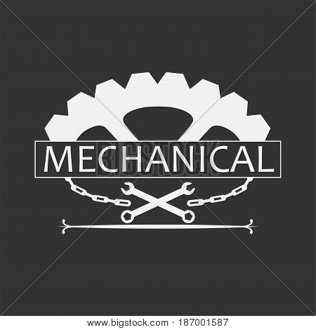 Mechanical Logo Template with vintage style. Gear and chain vector illustration.