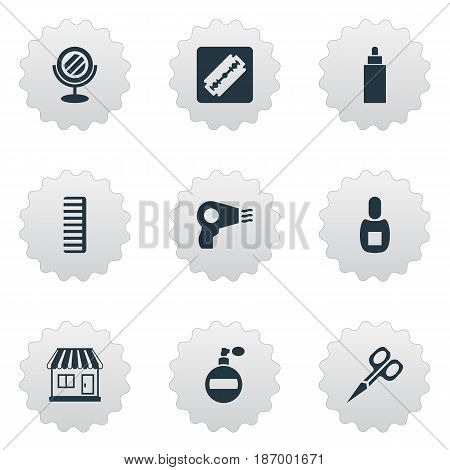 Vector Illustration Set Of Simple Beautician Icons. Elements Blow Dryer, Supermarket, Peeper And Other Synonyms Container, Perfume And Hackle.