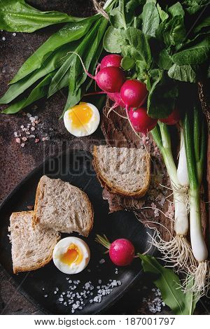 Rustic lunch breakfast with fresh young vegetables radish, spring onion, garlic leaves, soft boiled egg, salt and bread on wooden bark over dark texture metal background. Top view. Healthy eating