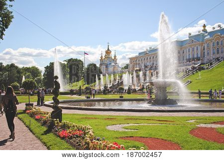 PETERHOF, RUSSIA - May 17: Scenic view of the Grand Cascade, Peterhof Palace, Russia, on May 17, 2017. The Peterhof Palace and Gardens complex is recognized as a UNESCO World Heritage Site
