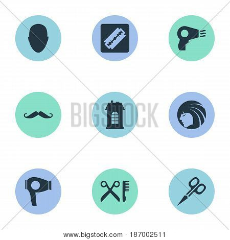 Vector Illustration Set Of Simple Beautician Icons. Elements Premises, Shaver, Drying Machine And Other Synonyms Hair, Mustache And Tool.