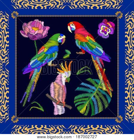 Silk scarf with embroidered parrots and palm leaves. Boho chic design.