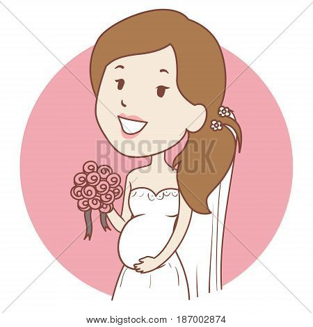 Vector Illustration of Pregnant Girl in wedding Dress