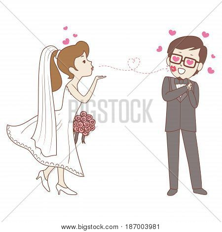 Vector Illustration of Bride doing flying Kiss to the Groom