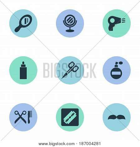 Vector Illustration Set Of Simple Hairdresser Icons. Elements Peeper, Beard, Aroma And Other Synonyms Scissors, Hair And Tube.
