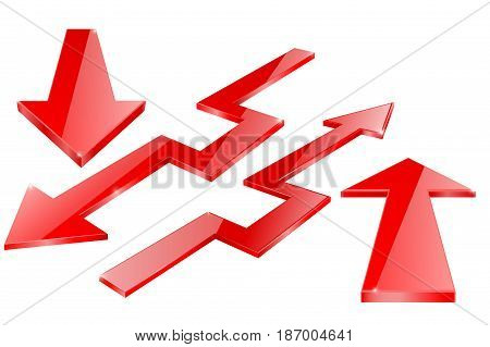 Red arrow. Red Indication arrows. Down arrows, statistic financial graphic. Vector isolated on white background. Illustration.