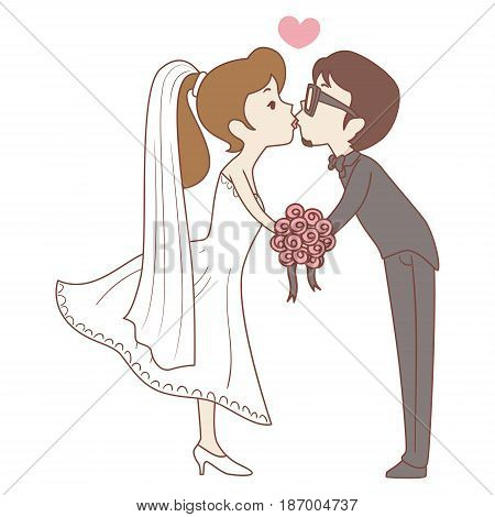 Vector Illustration of Bride and Groom Kissing Pose
