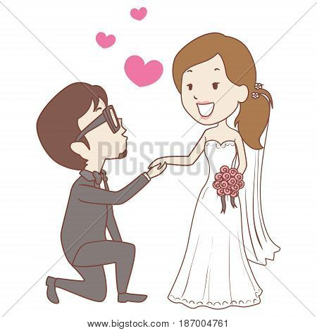 Vector Illustration of Kneeling Groom with Bride Wedding Proposal