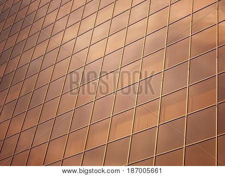 Building with tinted windows, closeup