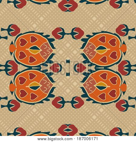 Seamless background from a floral ornament orange tribal style on a light background. Ethno. Vector illustration.