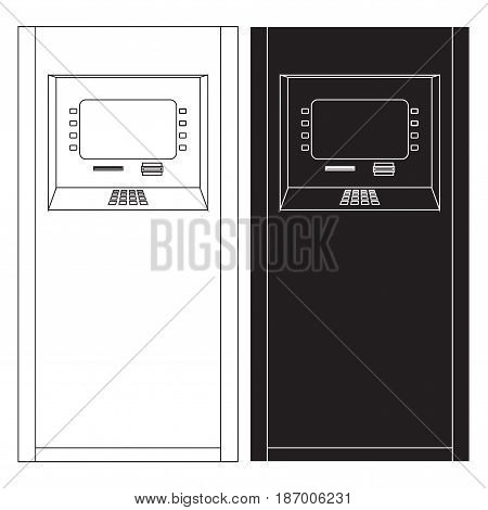 ATM. Bank machine. Automated Teller Machine. icon. Vector illustration isolated on white background
