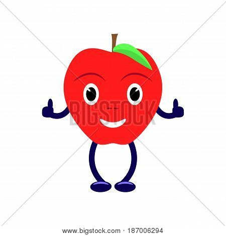 Vector illustration of a cartoon character with a red apple. Isolated on white background. Funny fruit apple with eyes, legs and hands. Flat style.